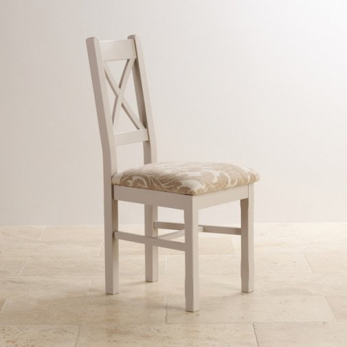 Kemble Rustic Solid Oak and Painted and Patterned Beige Fabric Dining Chair