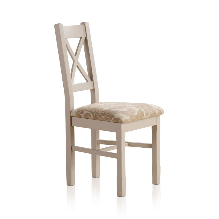 Kemble Rustic Solid Oak and Painted and Patterned Beige Fabric Dining Chair - Image 1