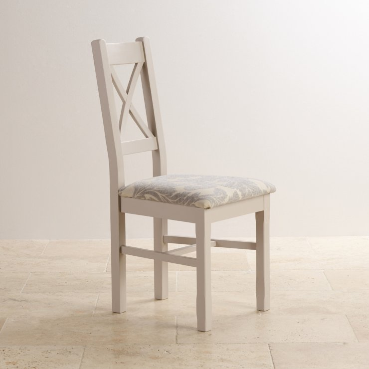 Kemble Rustic Solid Oak and Painted and Patterned Grey Fabric Dining Chair - Image 2