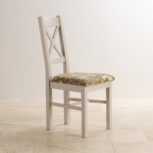 Kemble Rustic Solid Oak and Painted and Patterned Sage Fabric Dining Chair