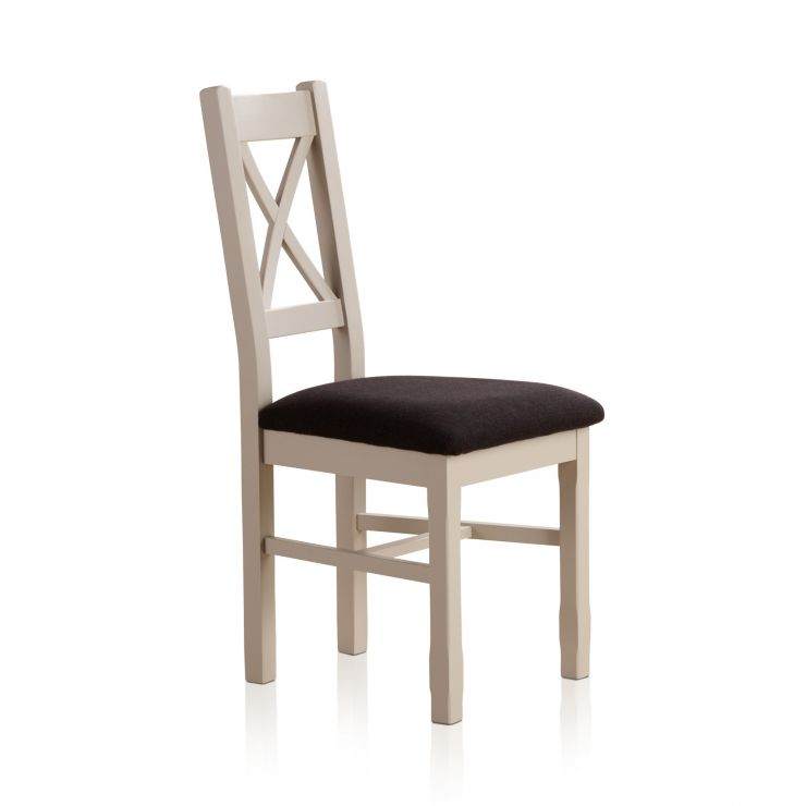 Kemble Rustic Solid Oak and Painted and Plain Black Fabric Dining Chair - Image 3