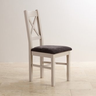 Kemble Rustic Solid Oak and Painted and Plain Charcoal Fabric Dining Chair