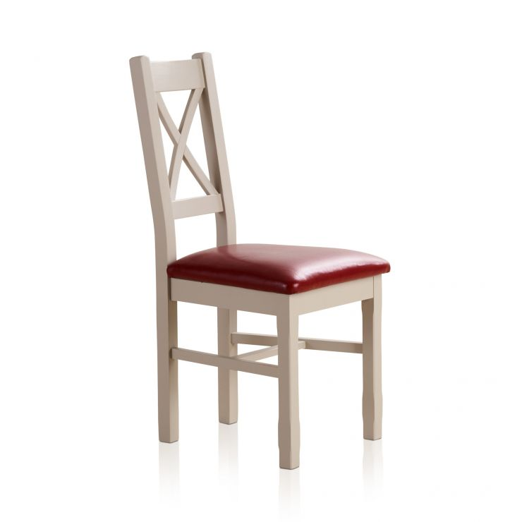 Kemble Rustic Solid Oak and Painted and Red Leather Dining Chair