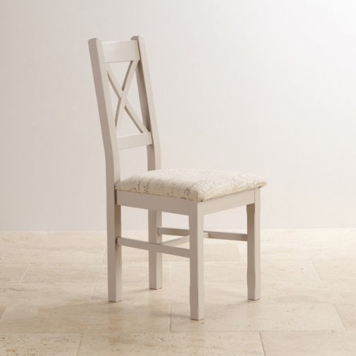 Kemble Painted Rustic Solid Oak Dining Chair - Scripted Beige Fabric