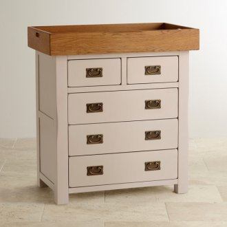 Kemble Rustic Solid Oak and Painted Baby Changer Dresser