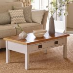 Kemble Rustic Solid Oak and Painted Coffee Table - Thumbnail 3