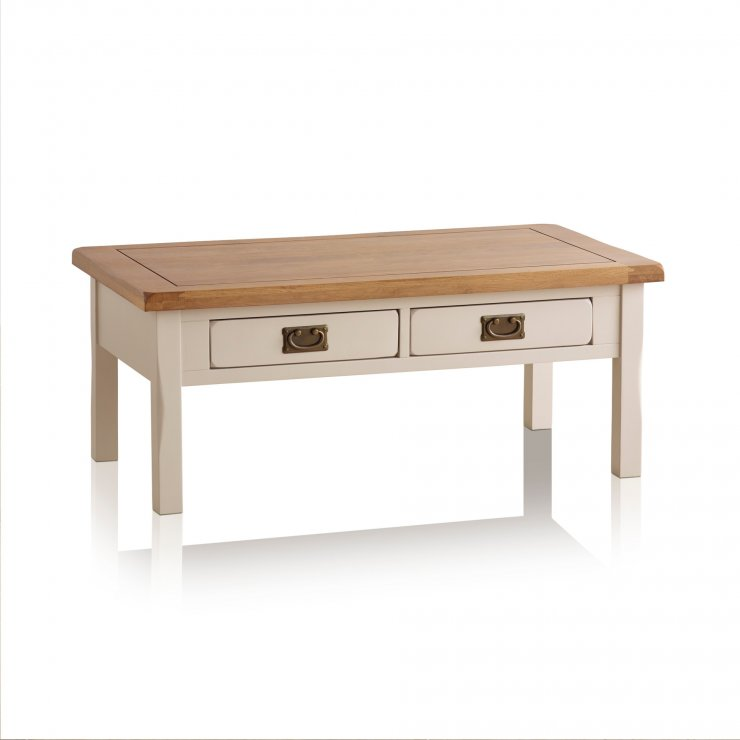Kemble Rustic Solid Oak and Painted Coffee Table - Image 5