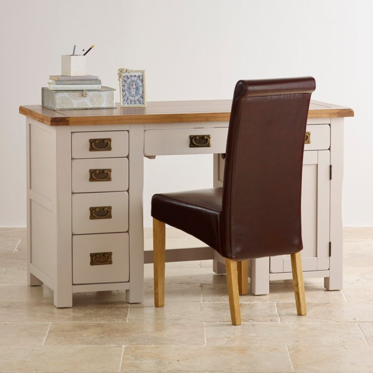 Kemble Rustic Solid Oak and Painted Computer Desk
