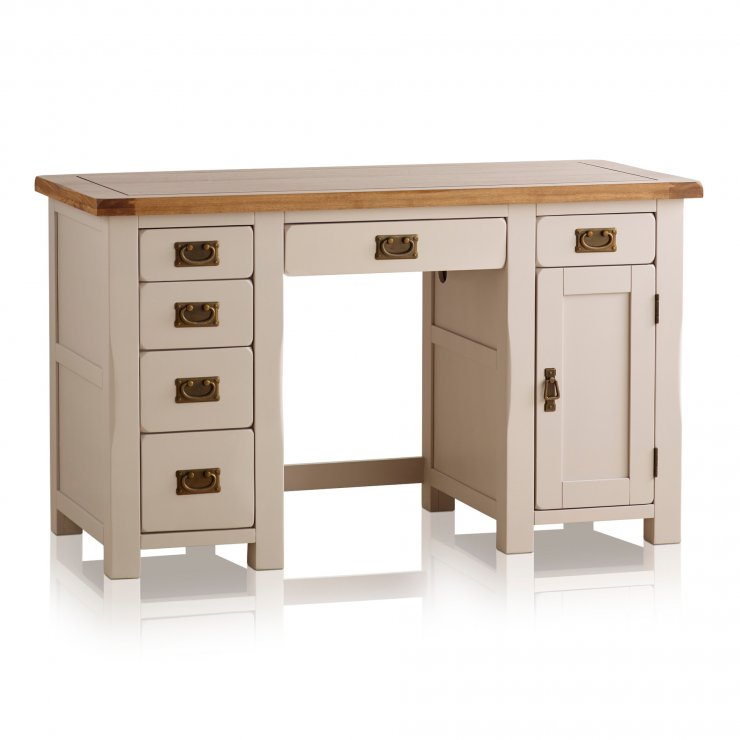 Kemble Rustic Solid Oak and Painted Computer Desk - Image 4