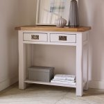 Kemble Rustic Solid Oak and Painted Console Table - Thumbnail 2