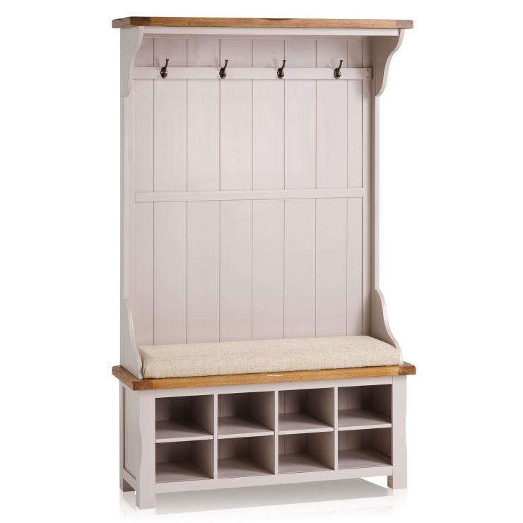 Kemble Rustic Solid Oak and Painted Hallway Unit with Plain Beige Fabric Hallway Pad - Image 6