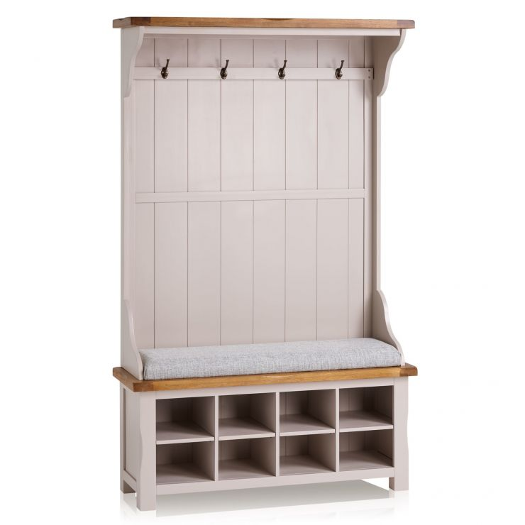 Kemble Rustic Solid Oak and Painted Hallway Unit with Plain Grey Fabric Hallway Pad - Image 1