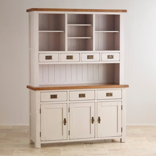 Kemble Rustic Solid Oak and Painted Large Dresser