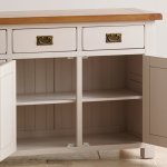 Kemble Rustic Solid Oak and Painted Large Sideboard - Thumbnail 5