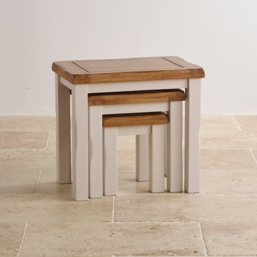 Kemble Rustic Solid Oak and Painted Nest of Tables