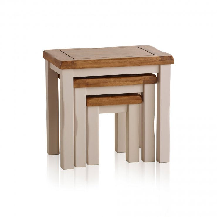 Kemble Rustic Solid Oak and Painted Nest of Tables - Image 4