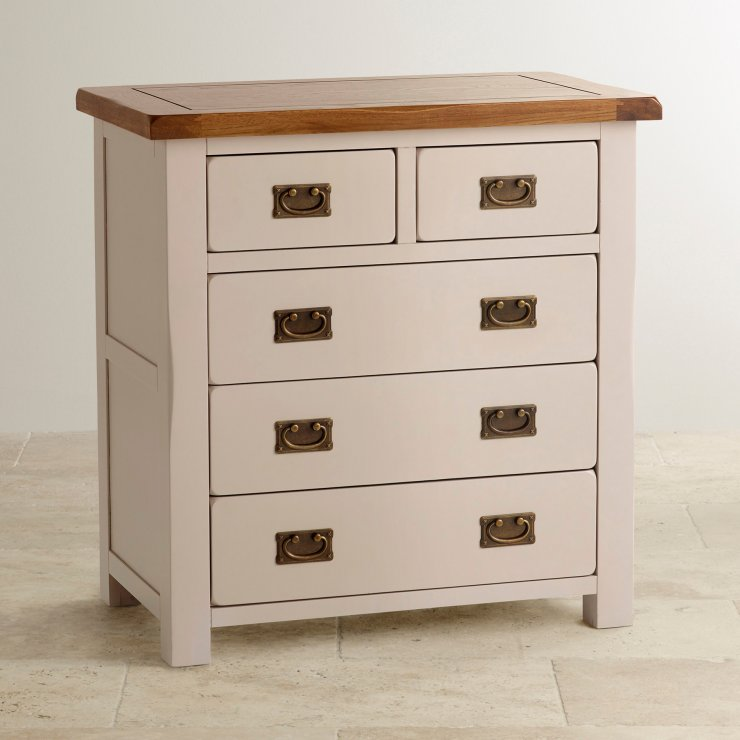 Kemble Rustic Solid Oak and Painted Nursery 3+2 Drawer Chest