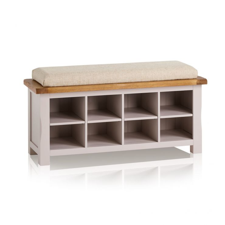 Kemble Rustic Solid Oak and Painted Shoe Storage with Plain Beige Fabric Hallway Pad - Image 6