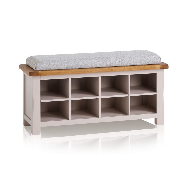 Kemble Rustic Solid Oak and Painted Shoe Storage with Plain Grey Fabric Hallway Pad