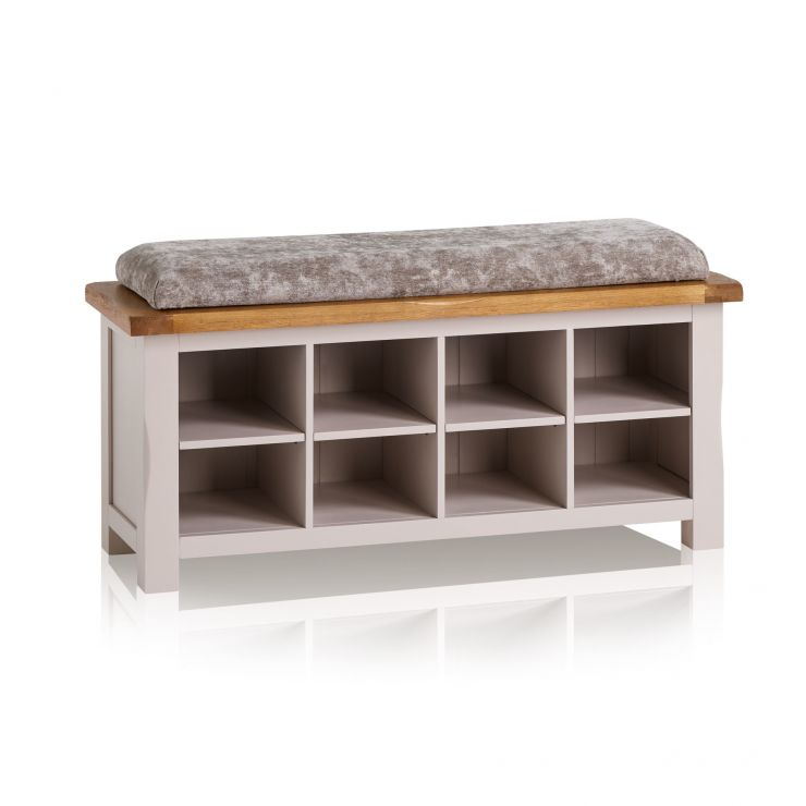Kemble Rustic Solid Oak and Painted Shoe Storage with Plain Truffle Fabric Hallway Pad - Image 6