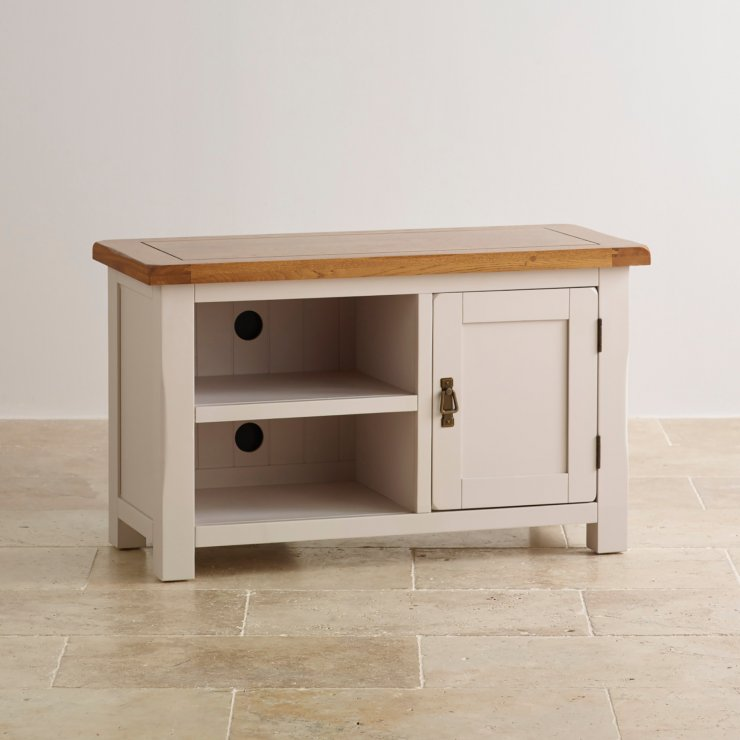 Kemble Rustic Solid Oak and Painted Small TV Cabinet - Image 4