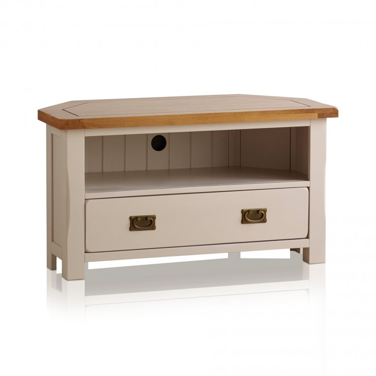 Kemble Rustic Solid Oak and Painted TV Corner Cabinet - Image 4