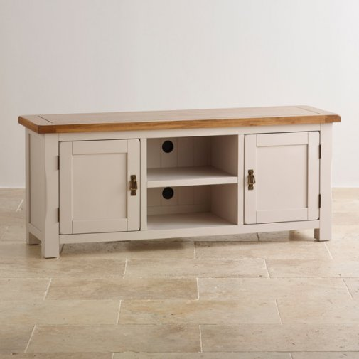 Kemble Rustic Solid Oak and Painted Large TV Cabinet