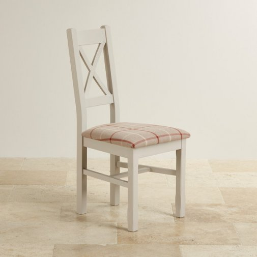 Kemble Rustic Solid Oak Painted and Check Natural Fabric Dining Chair