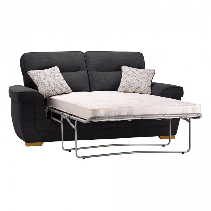 Kirby 2 Seater Sofa Bed with Deluxe Mattress - Frisco Charcoal with Slate Scatters - Image 7