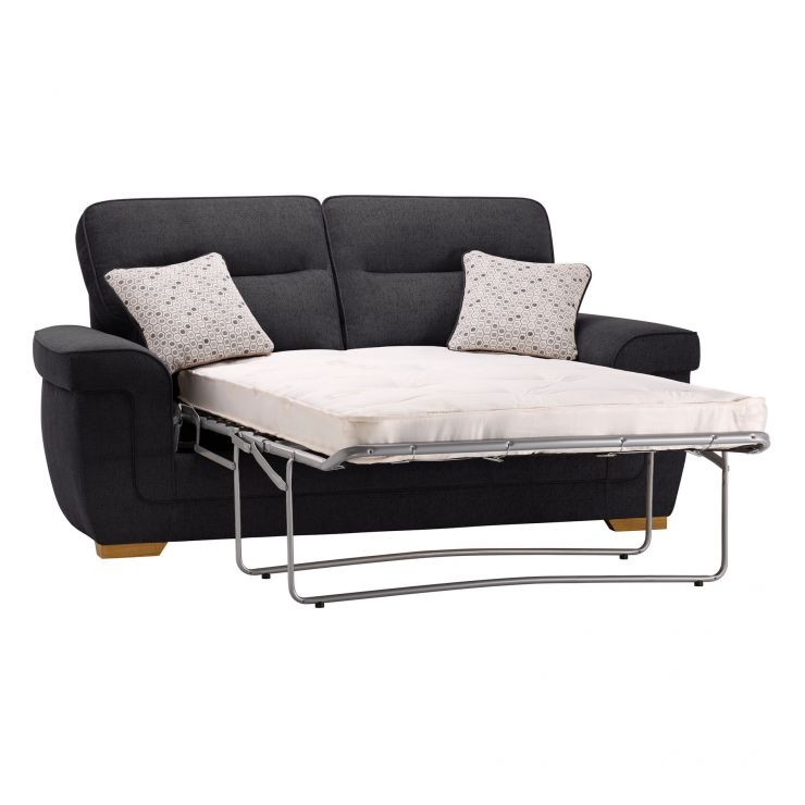 Kirby 2 Seater Sofa Bed with Deluxe Mattress - Frisco Charcoal with Slate Scatters