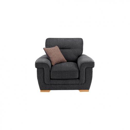 Kirby Armchair - Barley Graphite with Rustic Oak Feet