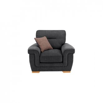Kirby Armchair - Barley Graphite with Rustic Oak Feet