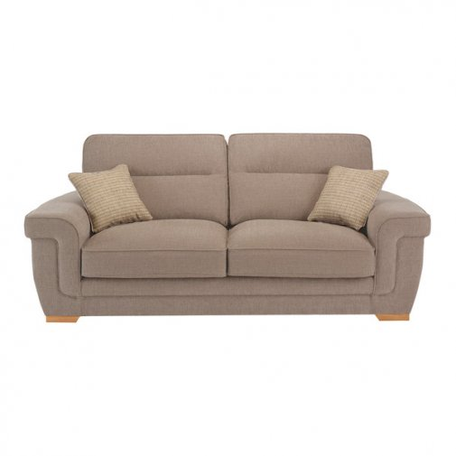 Kirby 3 Seater Sofa - Barley Beige with Rustic Oak Feet