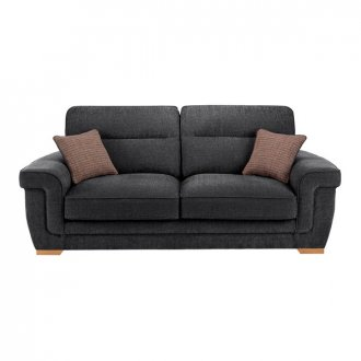 Kirby 3 Seater Sofa - Barley Graphite with Rustic Oak Feet