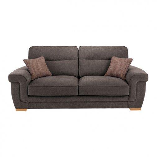 Kirby 3 Seater Sofa - Barley Grey with Rustic Oak Feet