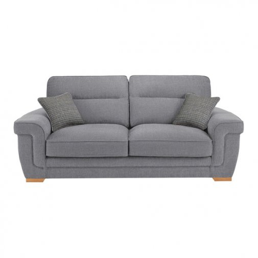 Kirby 3 Seater Sofa - Barley Silver with Rustic Oak Feet