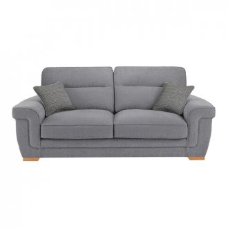 Kirby 3 Seater Sofa - Barley Silver with Rustic Oak Feet