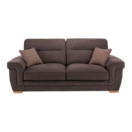 Kirby 3 Seater Sofa - Barley Taupe with Rustic Oak Feet
