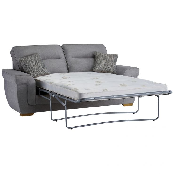 Kirby 3 Seater Sofa Bed with Deluxe Mattress in Barley Silver - Image 3