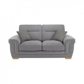 Kirby 2 Seater Sofa - Barley Silver with Rustic Oak Feet