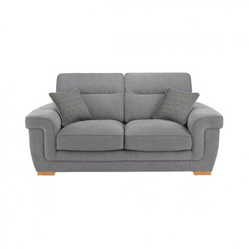 Kirby 2 Seater Sofa - Barley Silver with Rustic Oak Feet