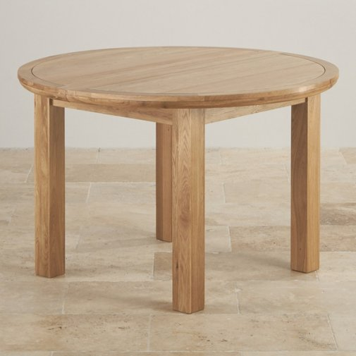 Express Delivery Knightsbridge Natural Solid Oak 4ft Round Extending Dining  Table