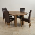 Knightsbridge 4ft Rustic Solid Oak Round Extending Dining Table + 4 Scroll Back Brown Leather Chairs - Thumbnail 2