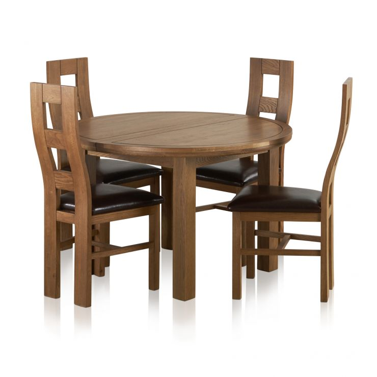 Knightsbridge 4ft Rustic Solid Oak Round Extending Dining Table 4 Wave Back Brown Leather Chairs