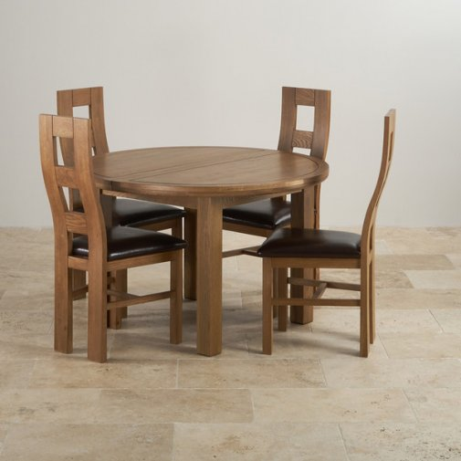 Express Delivery Knightsbridge 4ft Rustic Solid Oak Round Extending Dining  Table + 4 Wave Back Brown Leather Chairs