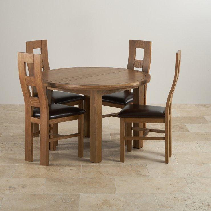 Knightsbridge 4ft Rustic Solid Oak Round Extending Dining Table + 4 Wave Back Brown Leather Chairs