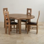 Knightsbridge 4ft Rustic Solid Oak Round Extending Dining Table + 4 Wave Back Brown Leather Chairs - Thumbnail 2