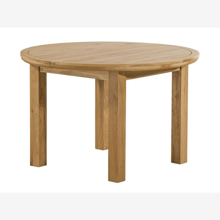 Knightsbridge Natural Solid Oak 4ft Round Extending Dining Table - Image 4