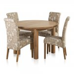 Knightsbridge Natural Oak Dining Set - 4ft Round Extending Table & 4 Scroll Back Patterned Chairs - Thumbnail 1