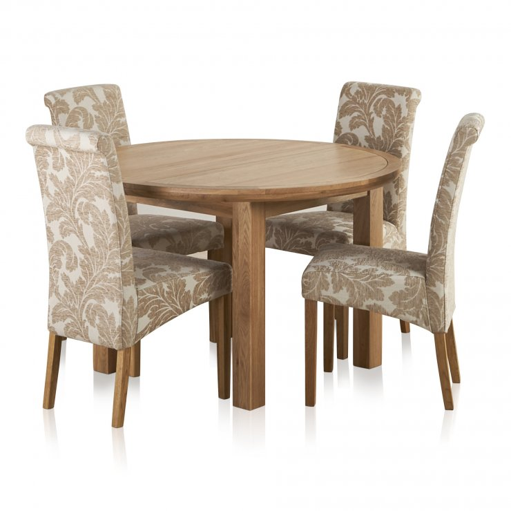 Knightsbridge Natural Oak Dining Set - 4ft Round Extending Table & 4 Scroll Back Patterned Chairs - Image 7